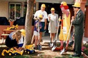 Group of RMHC supporters including Ronald McDonald during the groundbreaking of the 1995 House renovation at Roanoke
