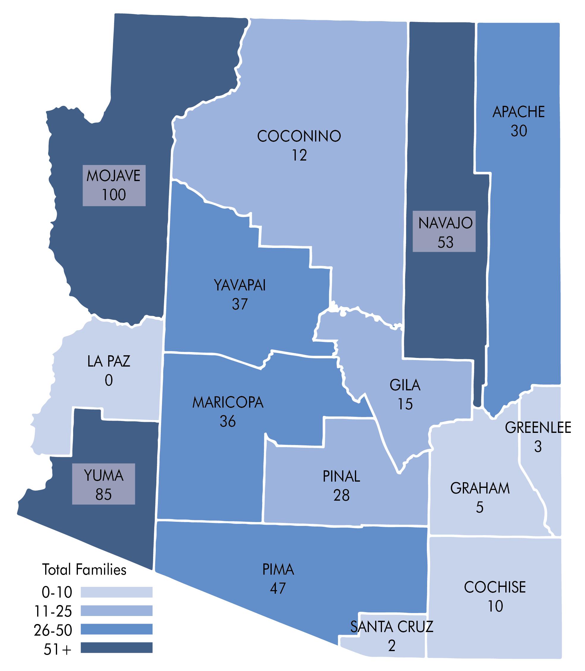 County breakdown map of Arizona