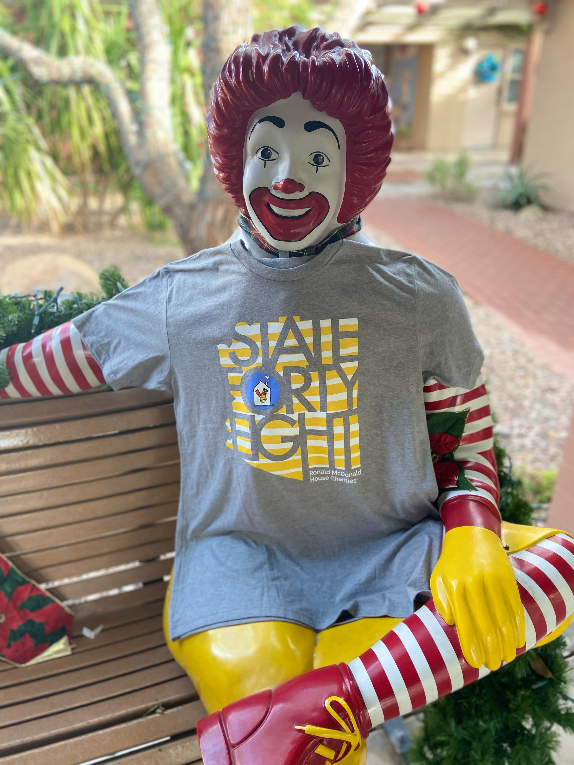 Ronald McDonald with the RMHC + State Forty Eight Shirt
