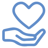 heart over hand icon
