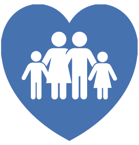 family in a heart icon